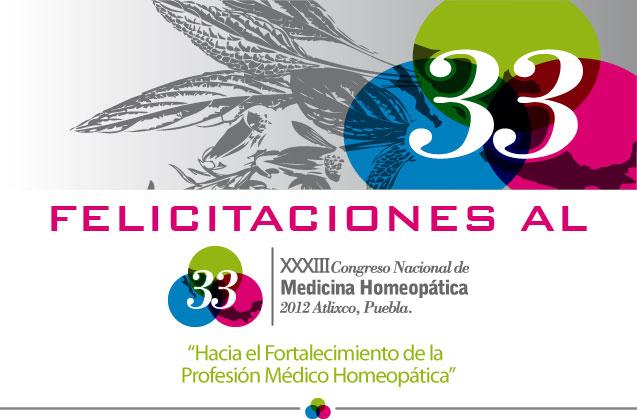 Felicitación al XXXIII Congreso Nacional de Medicina Homeopática